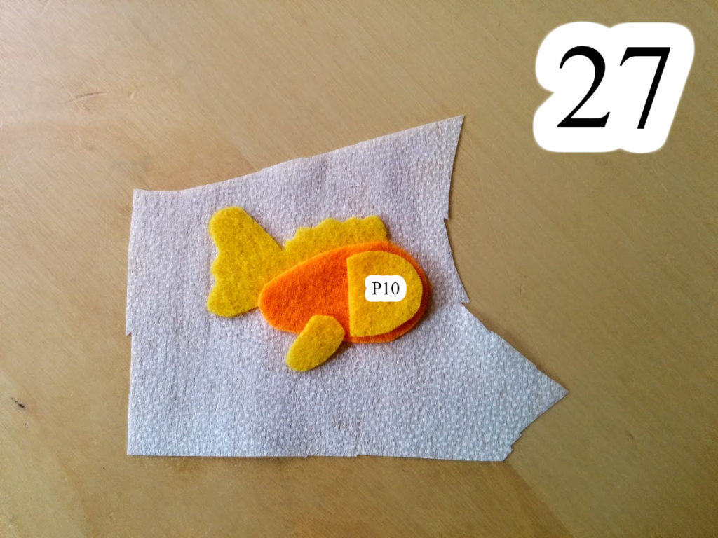 numbered-redo-orange-fish-pieces-ironed-on-interfacing-Jesus-walking-water